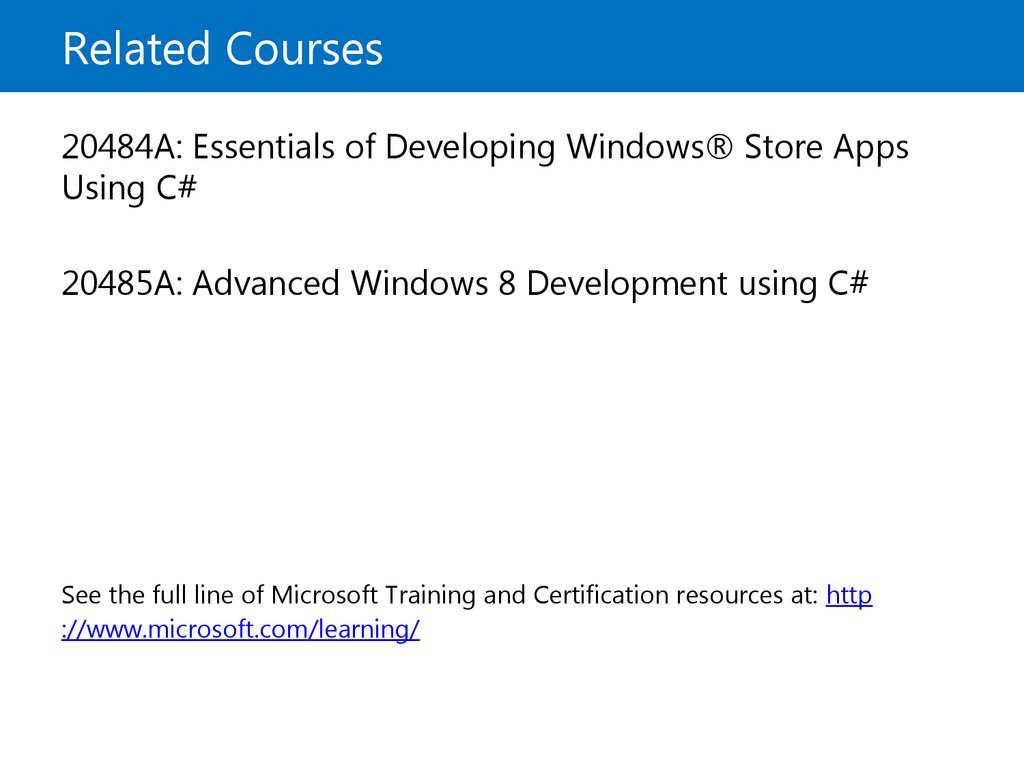 Microsoft official course programming in c course outline course outline continued related courses microsoft certification 1betcityfo Choice Image