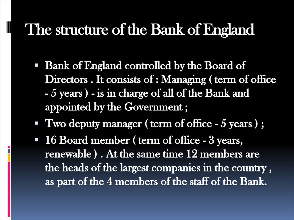 The structure of the Bank of England