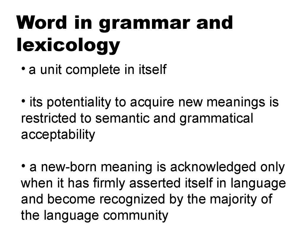 Word in grammar and lexicology