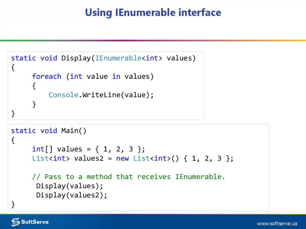 Using IEnumerable interface