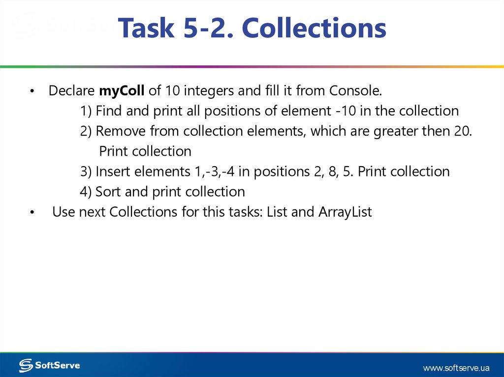 Task 5-2. Collections