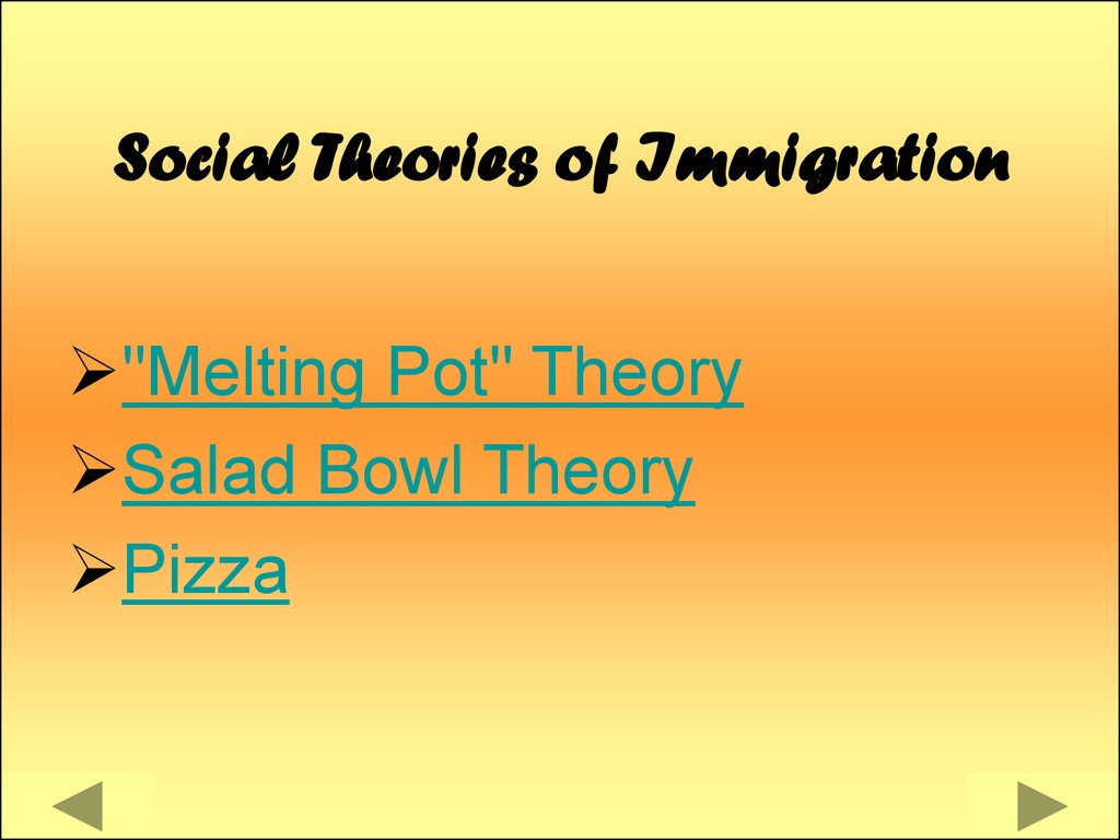 theories of immigration This investigation tested the applicability of four migratory theories in specifying the most stressful life changes among immigrants and the impact of these stresses on their mental health the four theoretical notions—social isolation, cultural shock, goal-striving stress, and cultural change—were explicated and tested against.