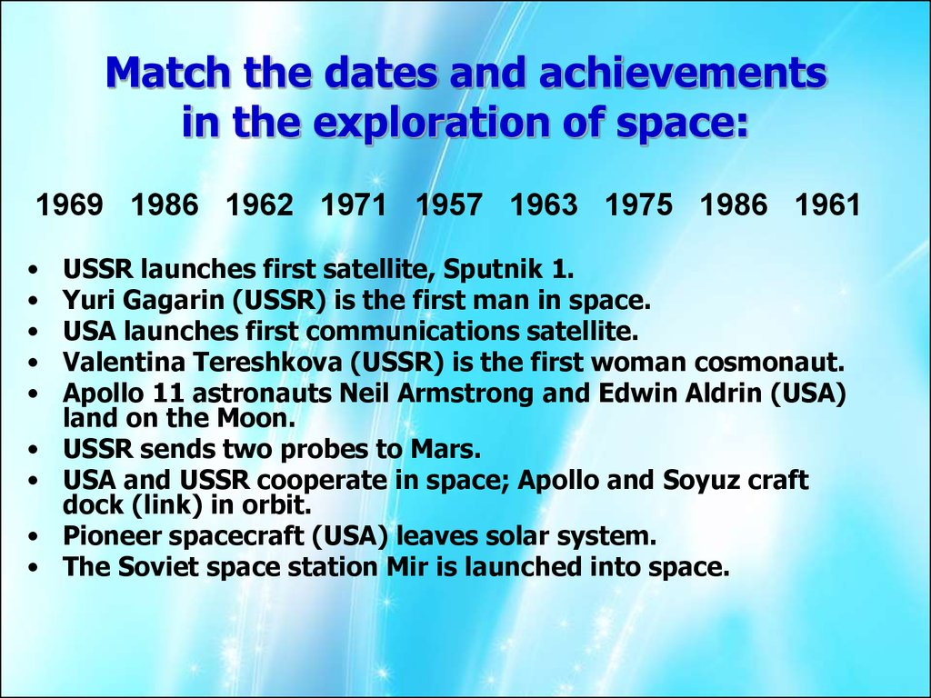 Match the dates and achievements in the exploration of space: