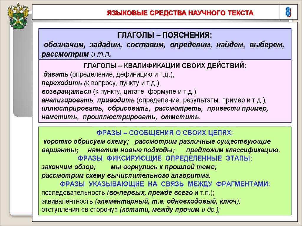 Требования к языку и оформлению студенческих научных работ  8