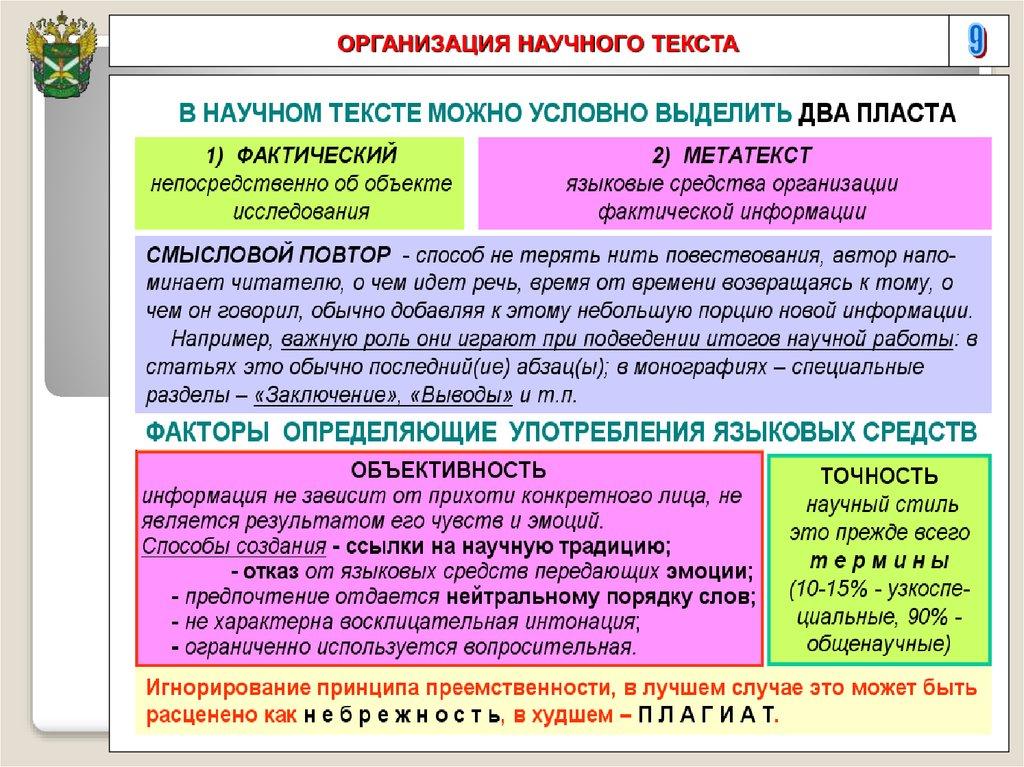 Требования к языку и оформлению студенческих научных работ  9