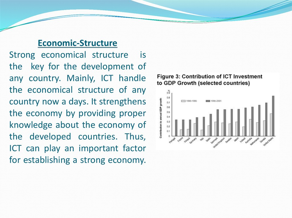 Economic-Structure Strong economical structure is the key for the development of any country. Mainly, ICT handle the economical structure of any country now a days. It strengthens the economy by providing proper knowledge about the economy of the develope