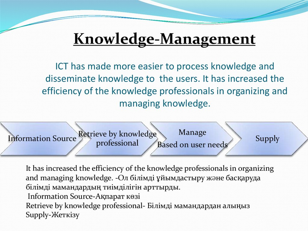 ICT has made more easier to process knowledge and disseminate knowledge to the users. It has increased the efficiency of the knowledge professionals in organizing and managing knowledge.