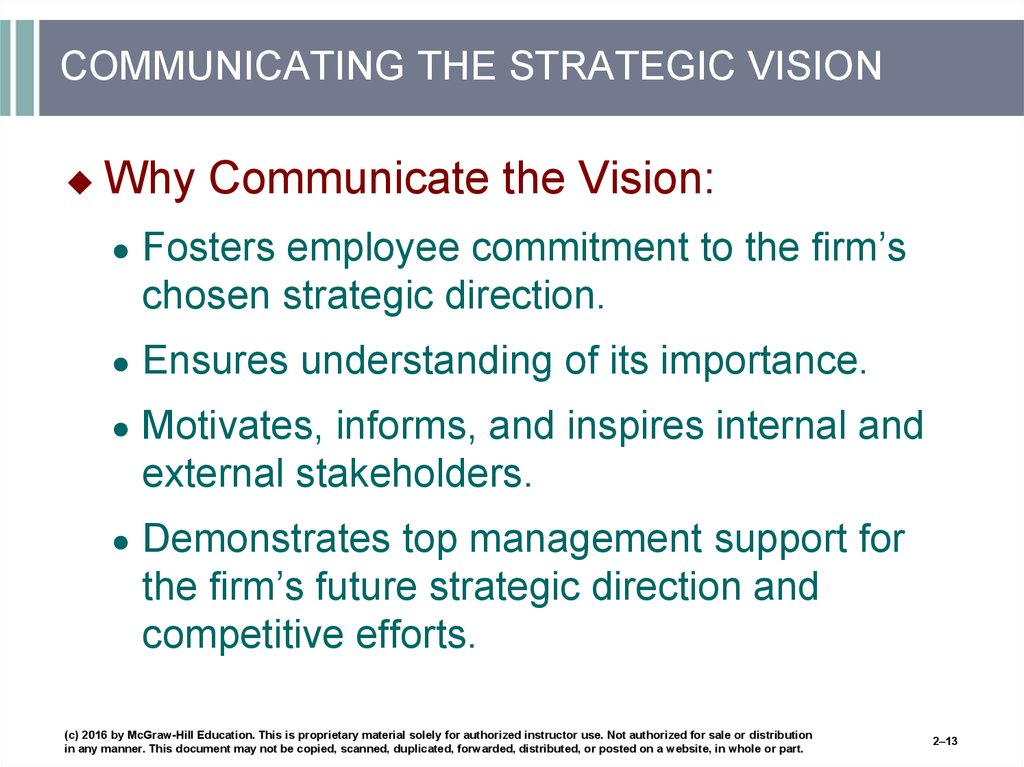 COMMUNICATING THE STRATEGIC VISION