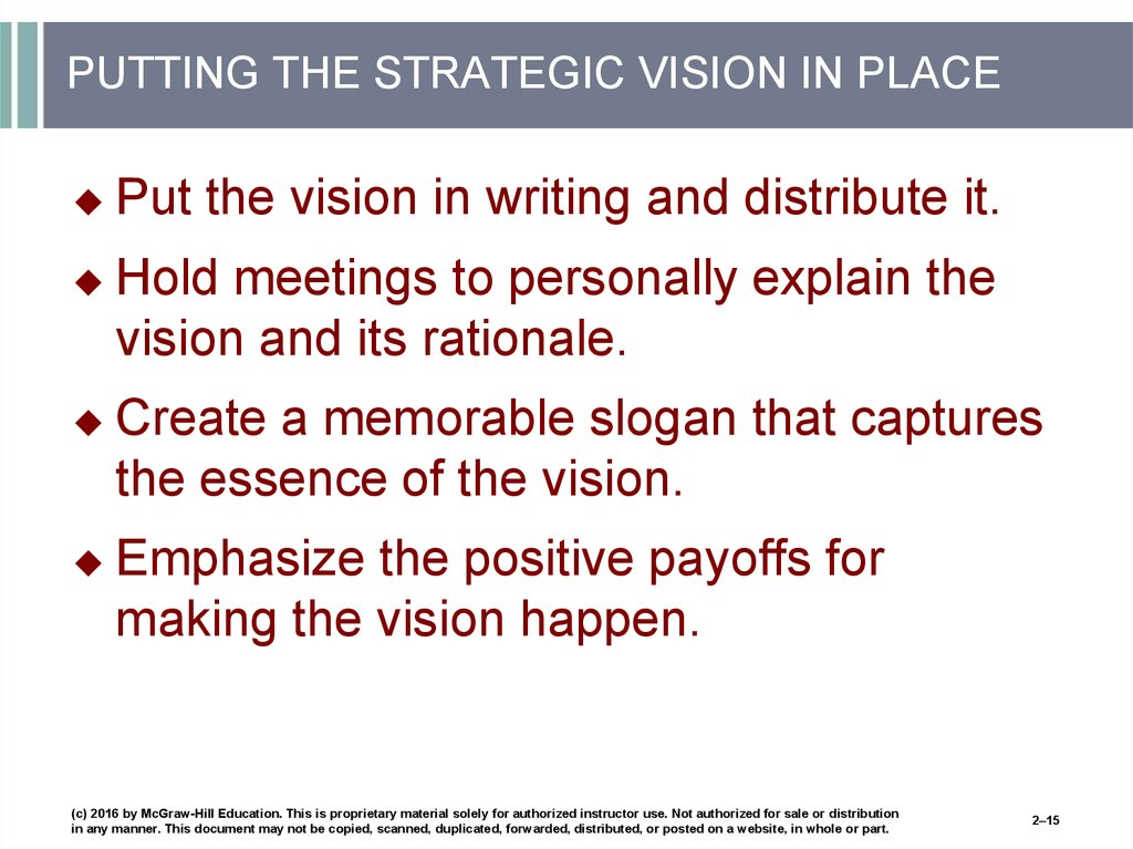 PUTTING THE STRATEGIC VISION IN PLACE