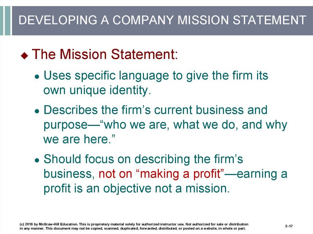DEVELOPING A COMPANY MISSION STATEMENT
