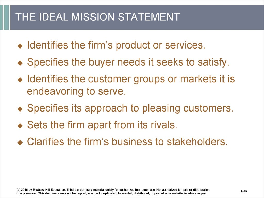 THE IDEAL MISSION STATEMENT