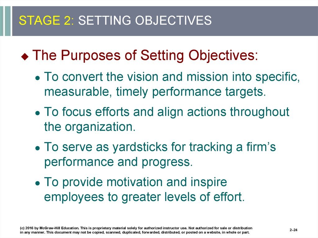 STAGE 2: SETTING OBJECTIVES