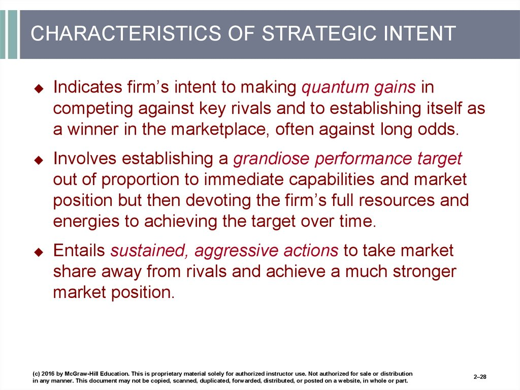 CHARACTERISTICS OF STRATEGIC INTENT