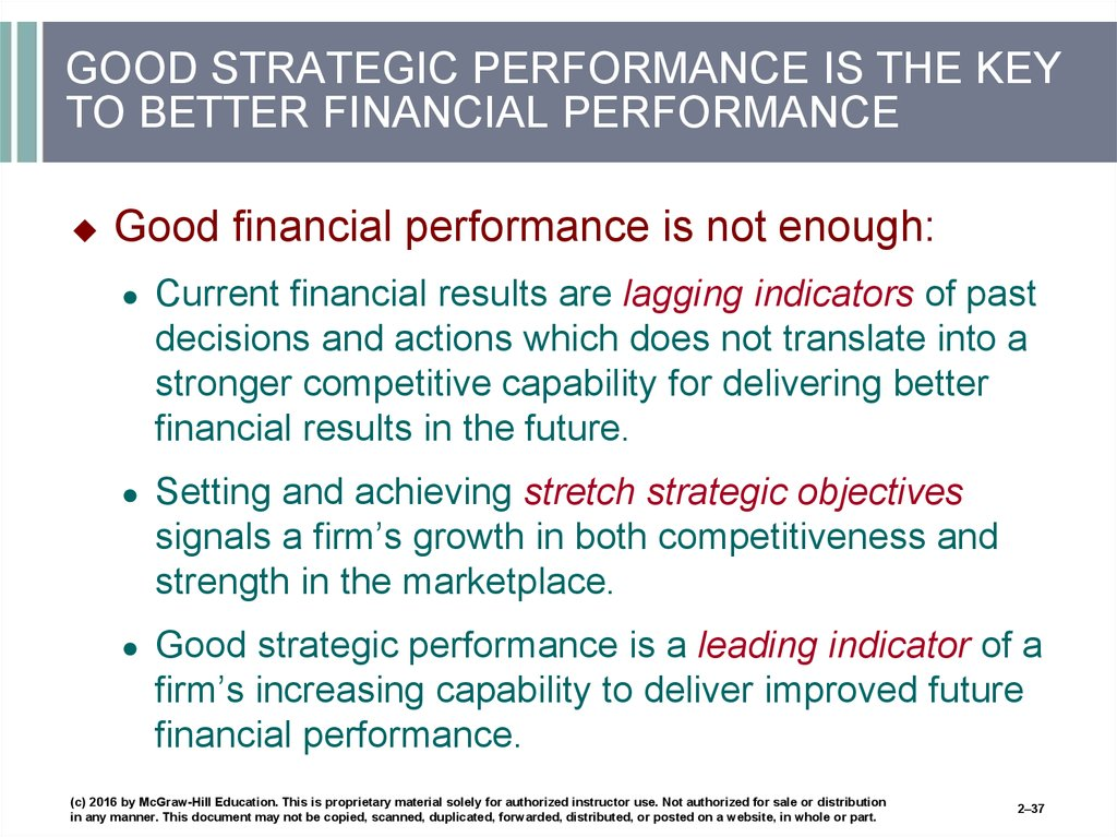 GOOD STRATEGIC PERFORMANCE IS THE KEY TO BETTER FINANCIAL PERFORMANCE