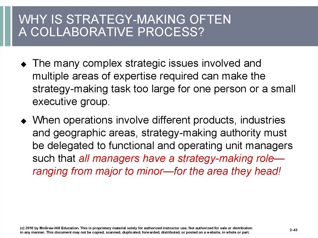 WHY IS STRATEGY-MAKING OFTEN A COLLABORATIVE PROCESS?