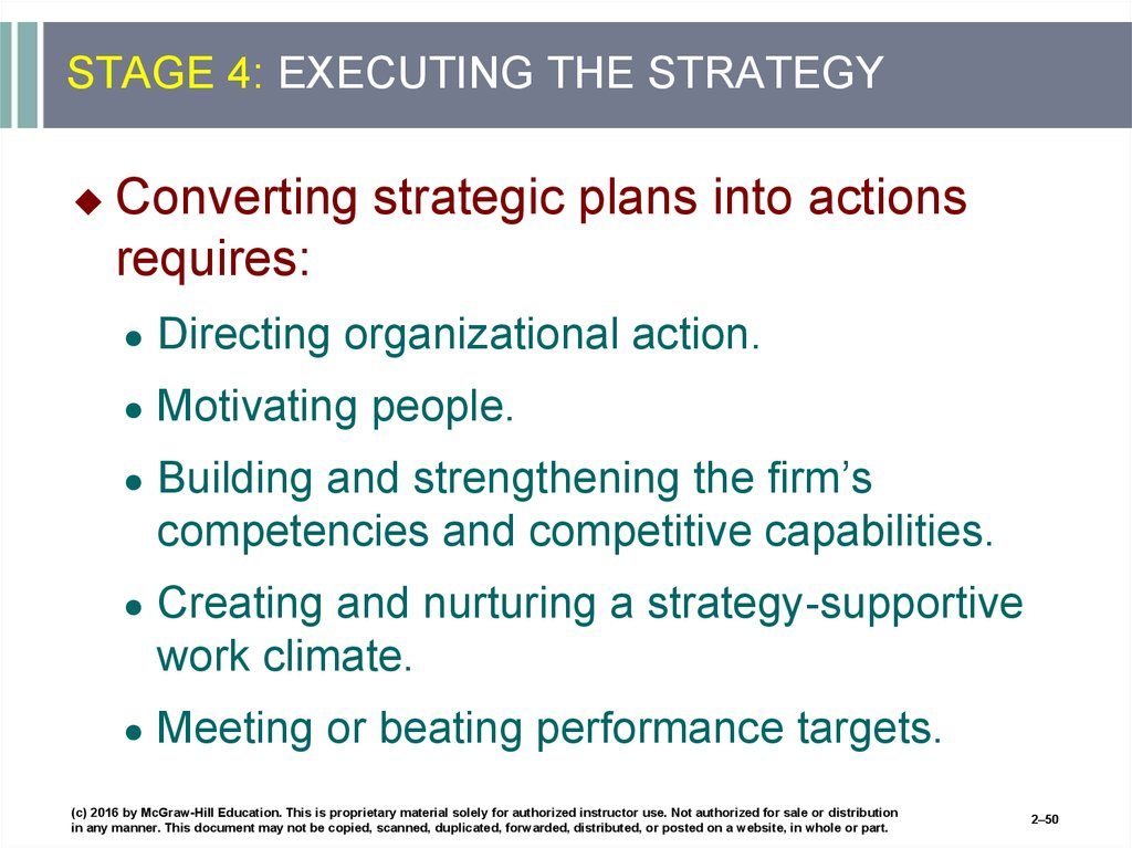STAGE 4: EXECUTING THE STRATEGY