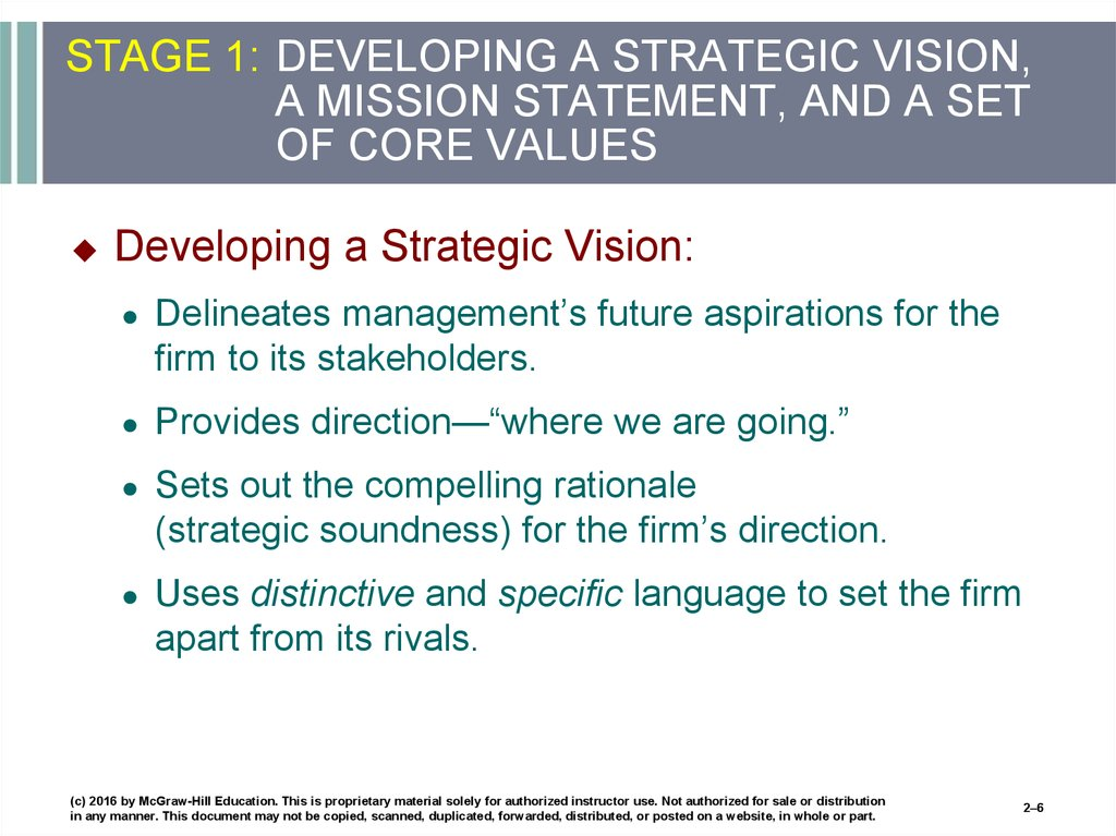 STAGE 1: DEVELOPING A STRATEGIC VISION, A MISSION STATEMENT, AND A SET OF CORE VALUES