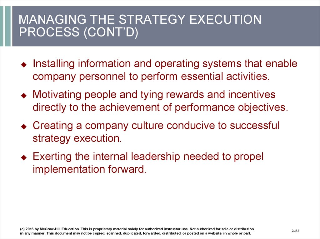 MANAGING THE STRATEGY EXECUTION PROCESS (CONT'D)