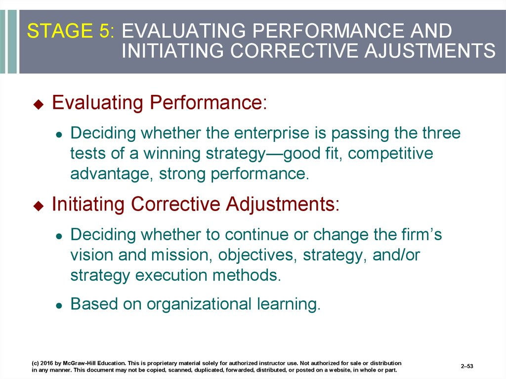 STAGE 5: EVALUATING PERFORMANCE AND INITIATING CORRECTIVE AJUSTMENTS