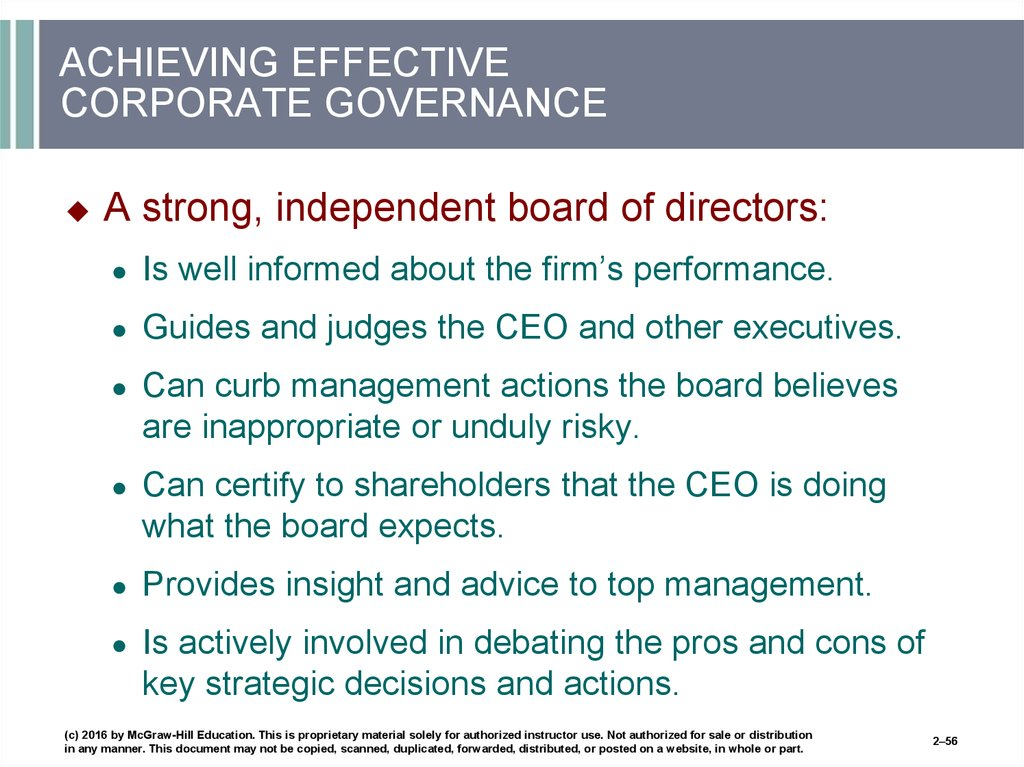 ACHIEVING EFFECTIVE CORPORATE GOVERNANCE