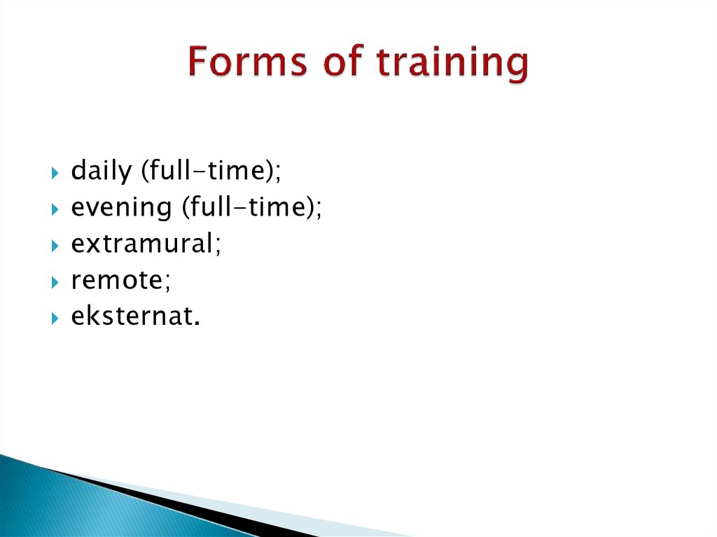 Forms of training