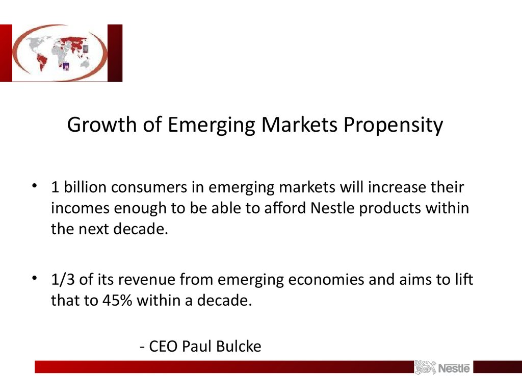 Growth of Emerging Markets Propensity