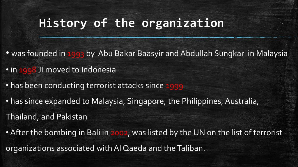 History of the organization
