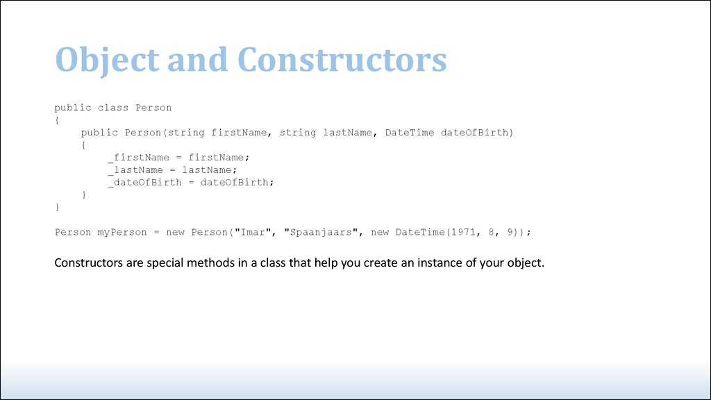 Object and Constructors