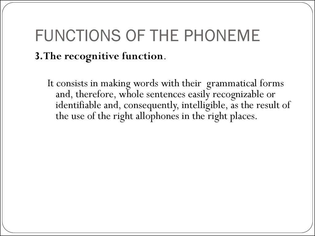 FUNCTIONS OF THE PHONEME