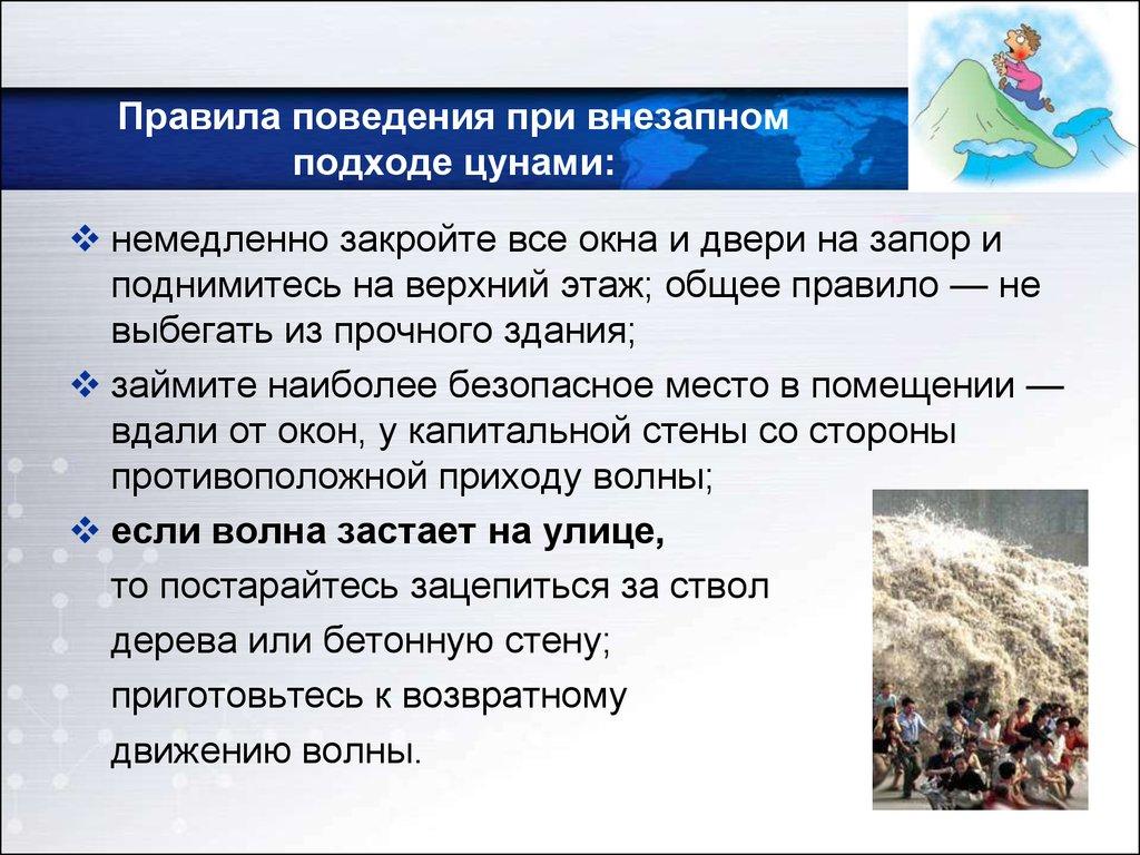 Правила безопасного поведения при цунами доклад 4605