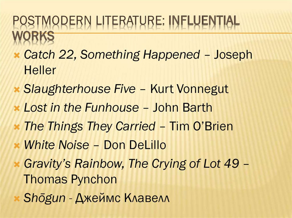 Postmodern Literature: Influential works