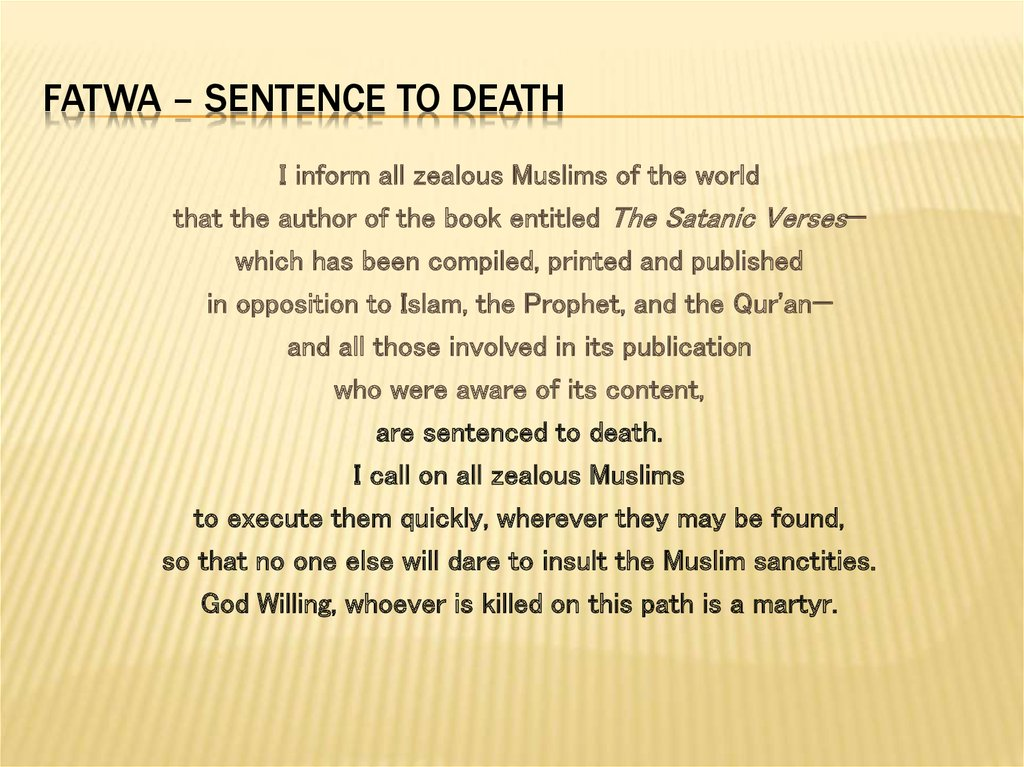 FATWA – SENTENCE TO DEATH