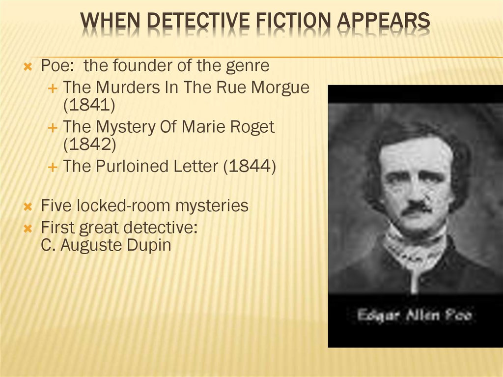 When Detective Fiction Appears