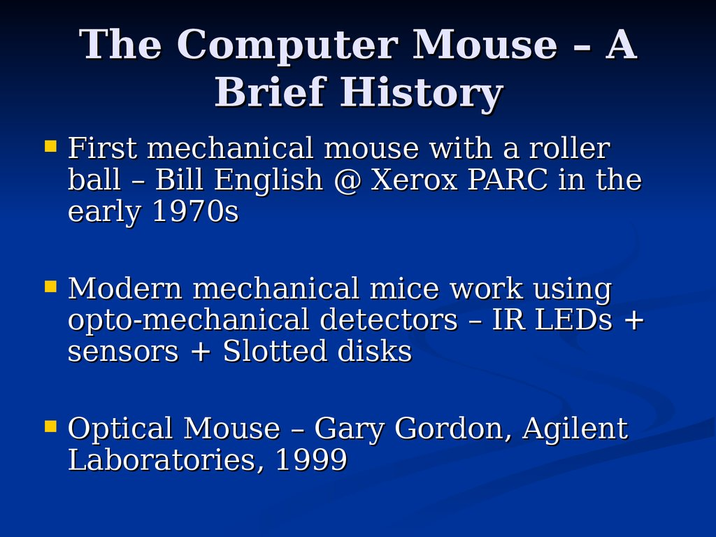 The Optical Mouse And The Mouse Driver презентация онлайн