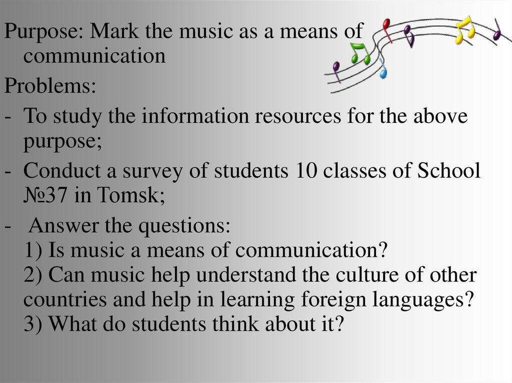 Language of music as a means of communication - online