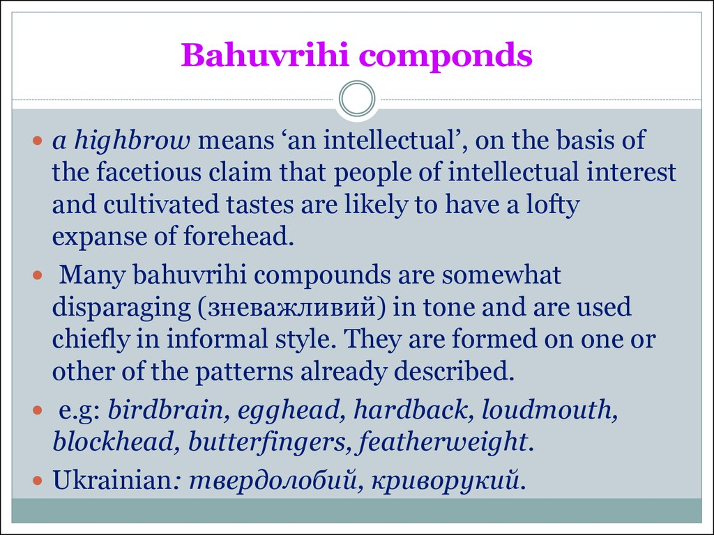 Bahuvrihi componds