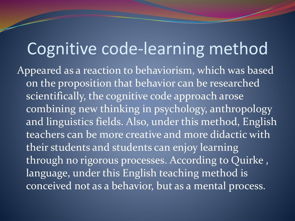 Cognitive code-learning method
