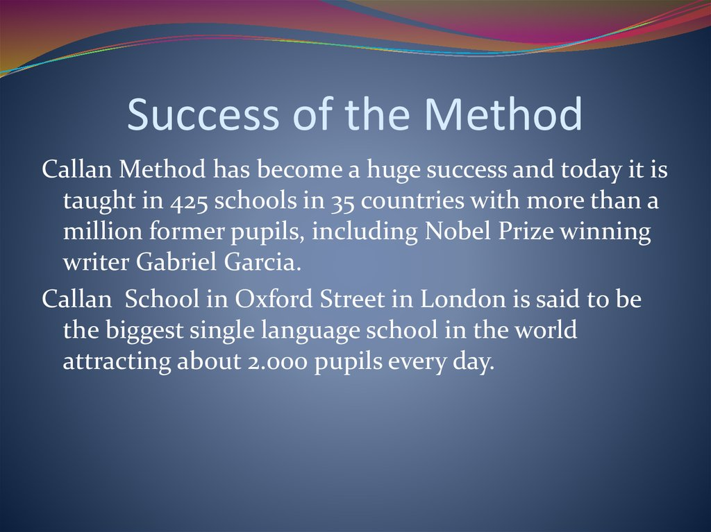 Success of the Method
