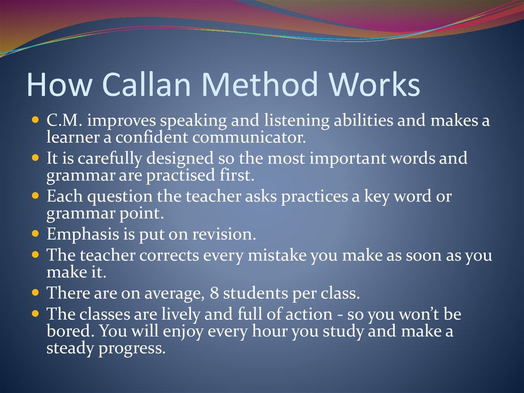 How Callan Method Works