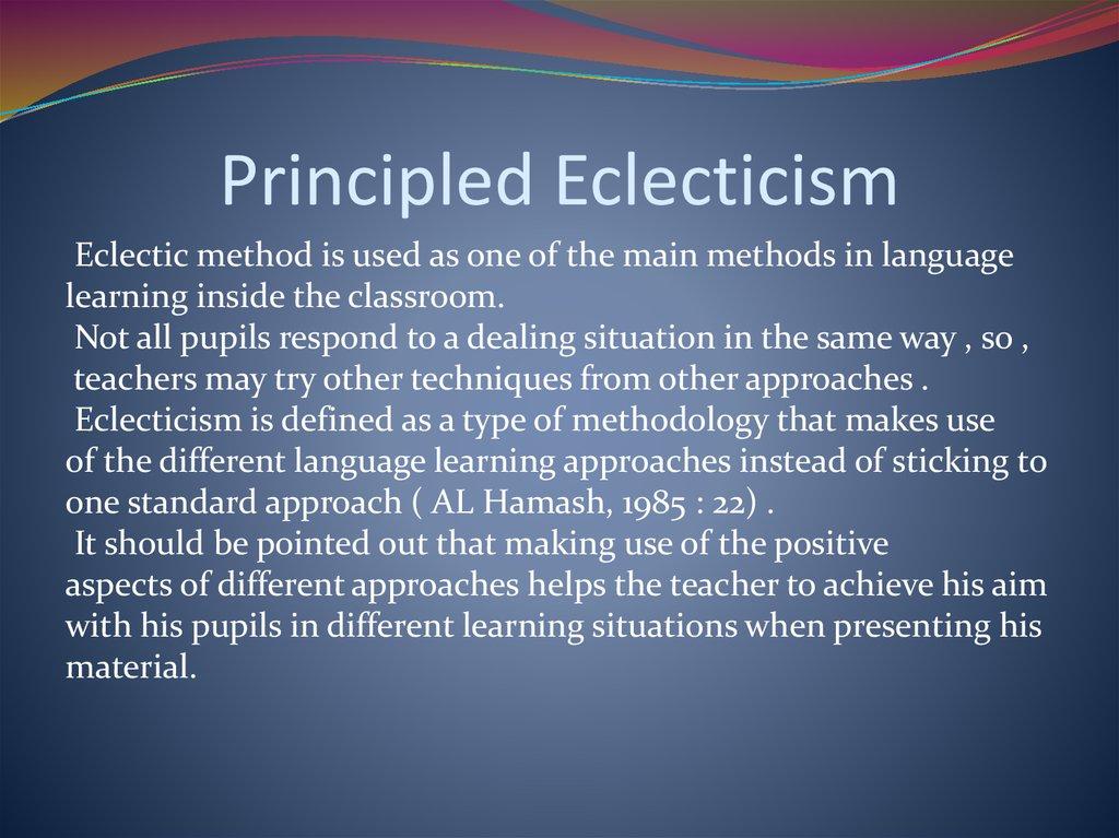eclectic method of teaching english