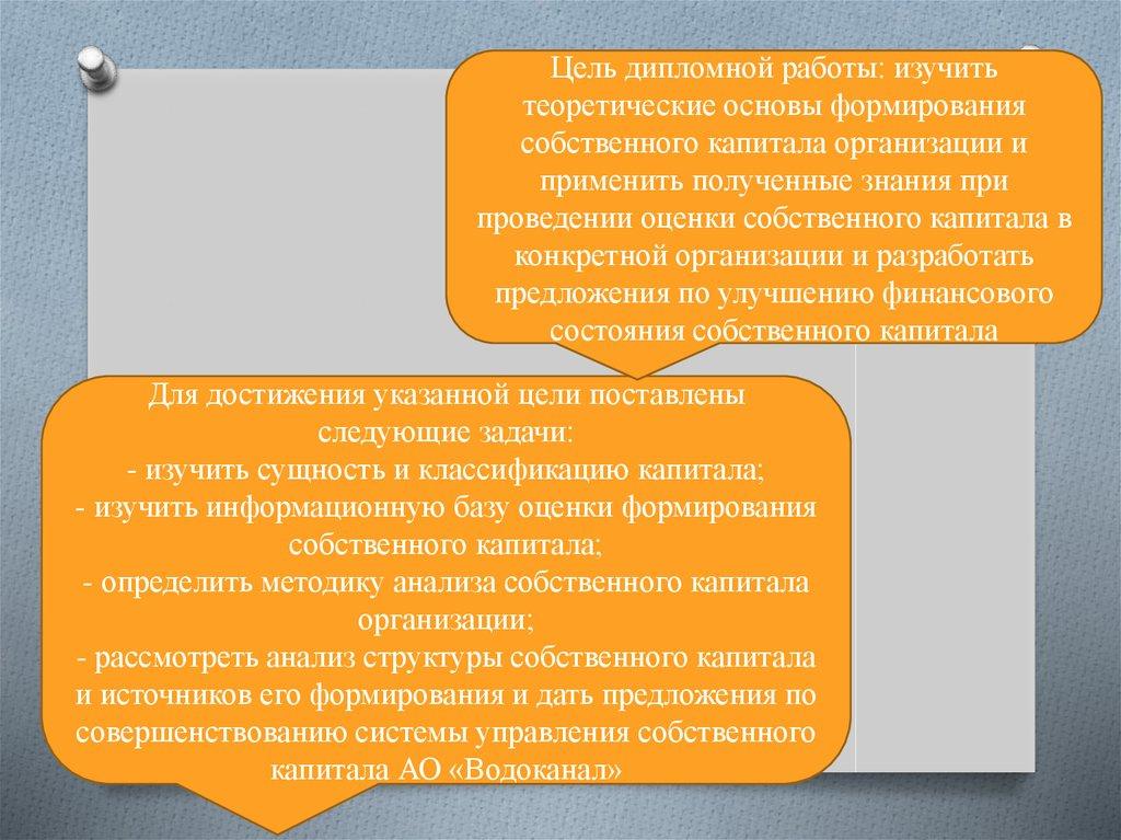 Оценка источников формирования собственного капитала организации  Цель дипломной работы изучить теоретические основы формирования собственного капитала организации и применить полученные знания при