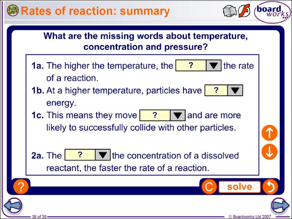 Rates of reaction - online presentation