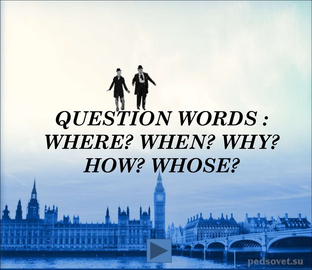 Question words : Where? When? Why? How? Whose?