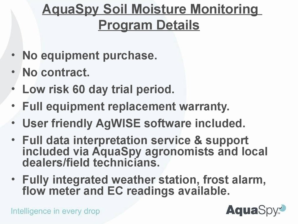 Aquaspy Soil Moisture Monitoring Online Presentation Frost Alarm 2 Program Details