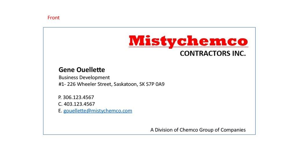 MistyChemco business card - online presentation