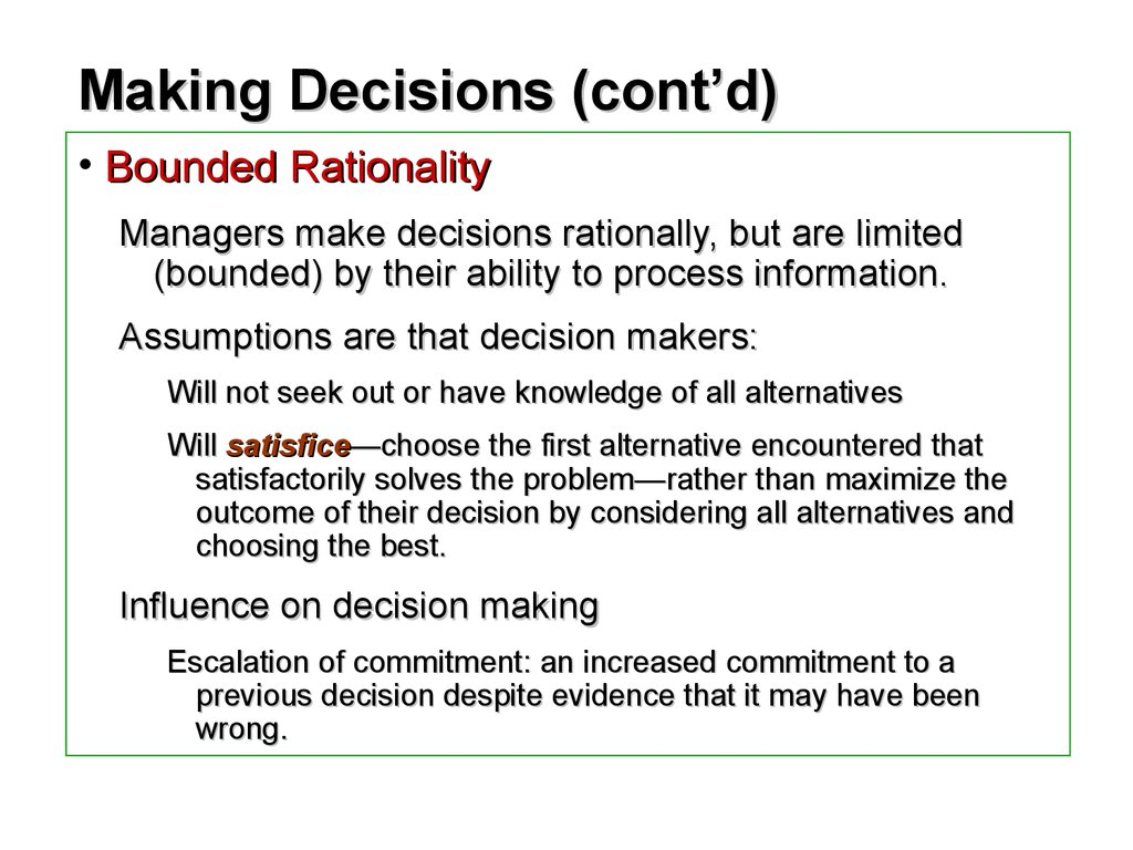 decision maker and the rational man