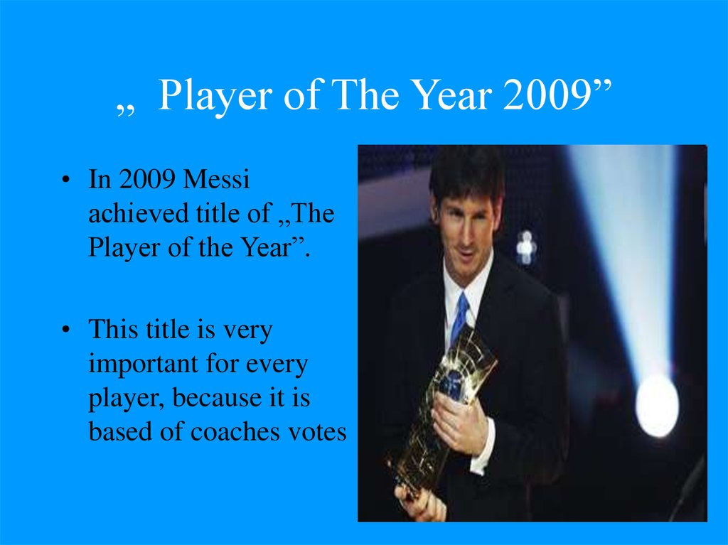 """ Player of The Year 2009"""