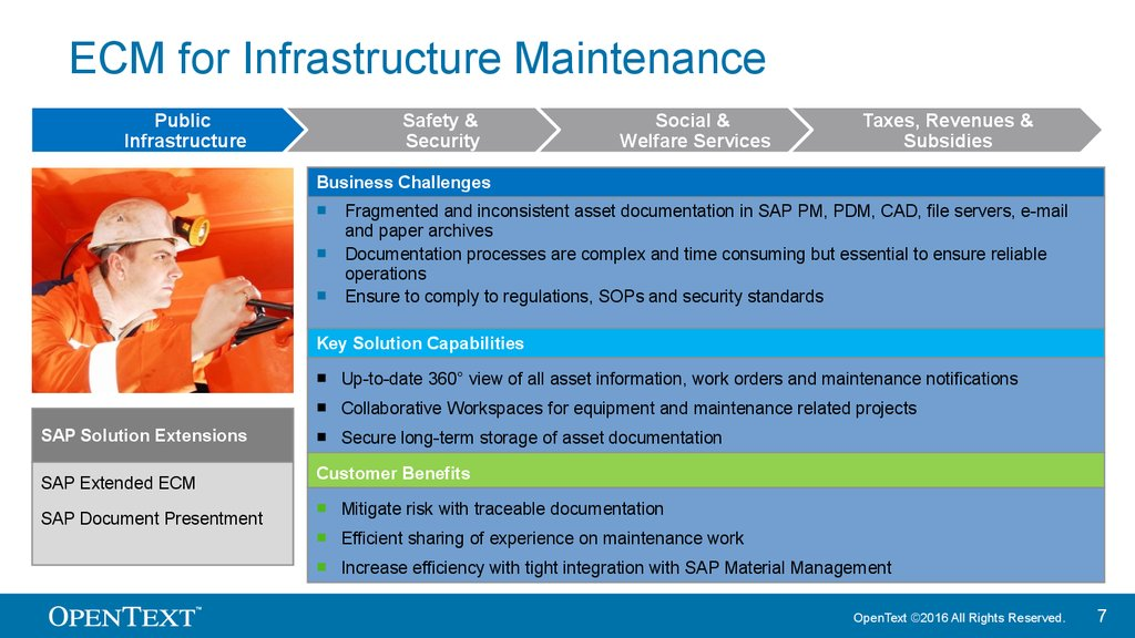 ECM for Infrastructure Maintenance