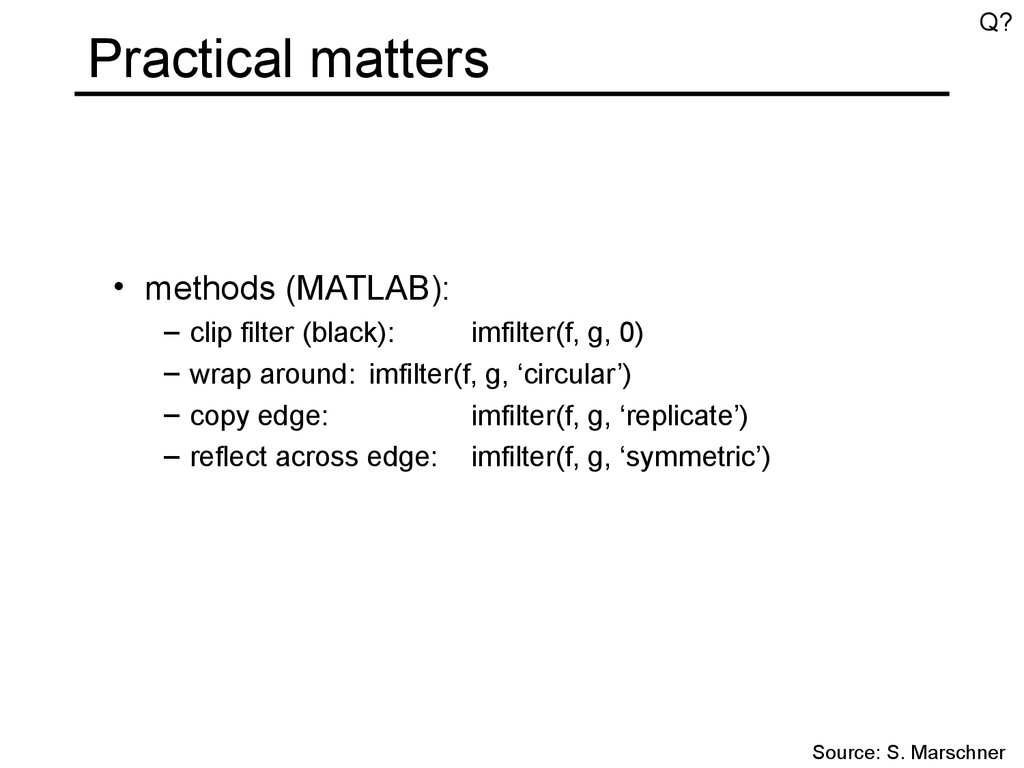 Practical matters