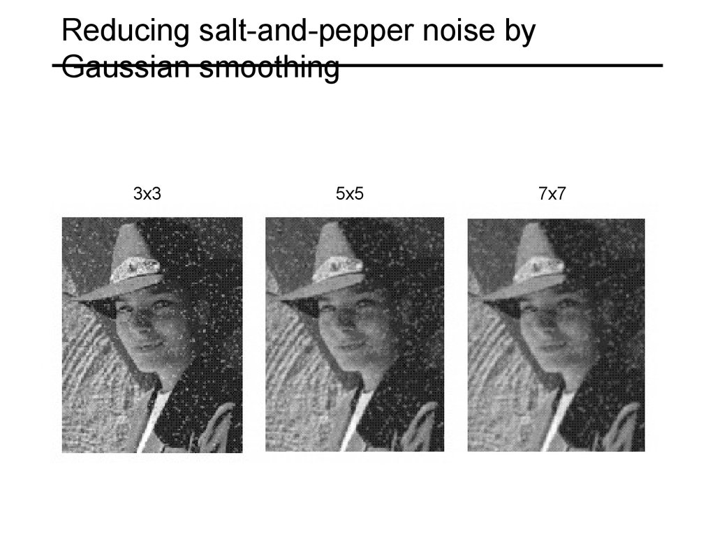 Reducing salt-and-pepper noise by Gaussian smoothing